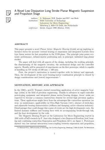 A Novel Low Dissipation Long Stroke Planar Magnetic Suspension ...