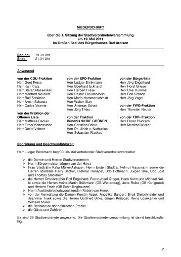 Protokoll STVV 19.04.11 - Bad Arolsen
