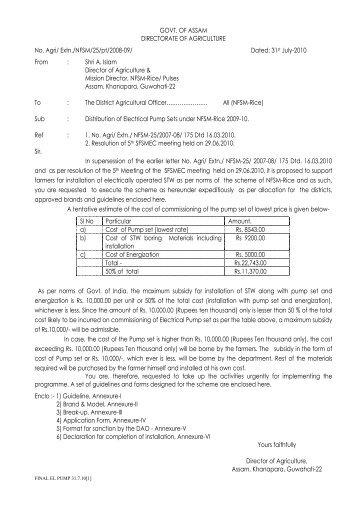 Distribution of Electrical Pump Sets under NFSM-Rice - Nagaon