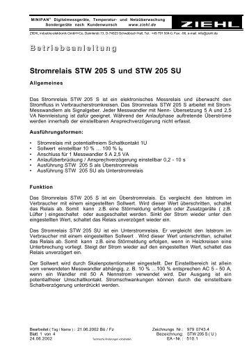 B e t r i e b s a n l e i t u n g Stromrelais STW 205 S und ... - ziehl.de