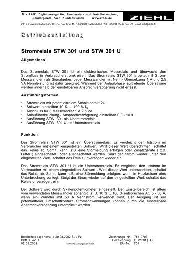 B e t r i e b s a n l e i t u n g Stromrelais STW 301 und STW ... - ziehl.de