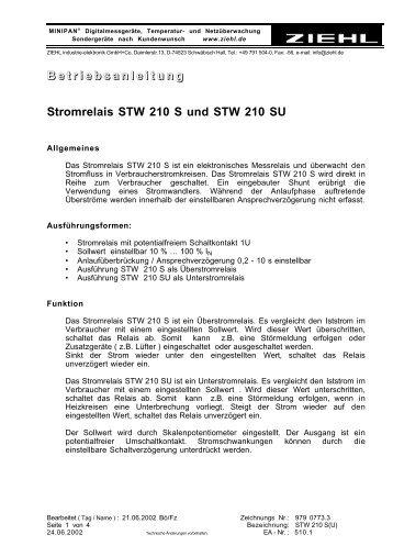 B e t r i e b s a n l e i t u n g Stromrelais STW 210 S und ... - ziehl.de