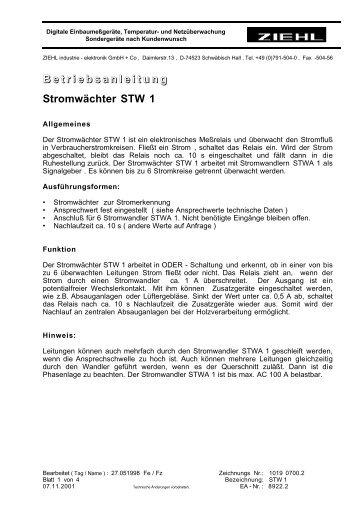 B e t r i e b s a n l e i t u n g Stromwächter STW 1 - ziehl.de