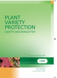 PLANT VARIETY PROTECTION - International Union for the ...