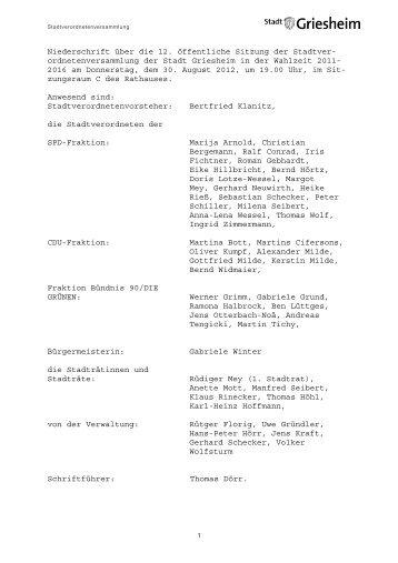 Protokoll zur 17 - Stadt Griesheim