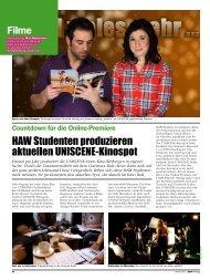 Filme HAW Studenten produzieren aktuellen UNISCENE-Kinospot