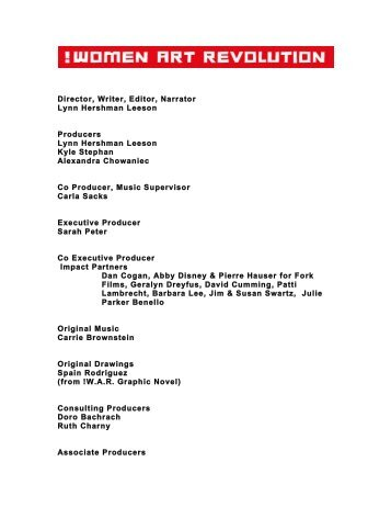 Director, Writer, Editor, Narrator Lynn Hershman Leeson Producers ...