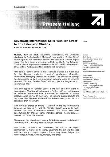 """Schiller Street"" to Fox Television Studios - Red Arrow International"