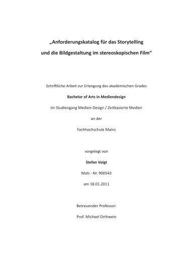 """""""Anforderungskatalog für das Storytelling und die ... - Stefan D. Voigt"""