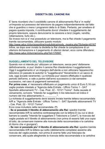 Canone Rai Costo Disdetta Abbonamento Esenzione With Canone Rai Costo.