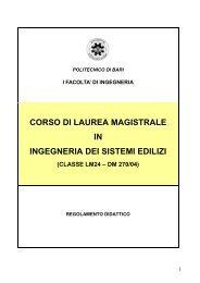 Laurea Magistrale in Ingegneria dei Sistemi Edilizi - Politecnico di Bari