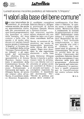 La Provincia di Frosinone - Olimpia Tarzia