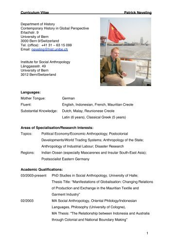 Curriculum Vitae Patrick Neveling 1 Department of History ...