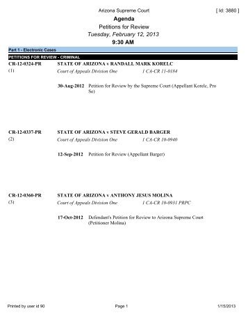 Agenda Petitions for Review Tuesday, February 12, 2013 9:30 AM