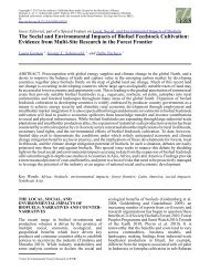 The Social and Environmental Impacts of Biofuel Feedstock Cultivation