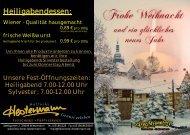 Weihnacht 2012 - Fleischerei und Partyservice Hestermann