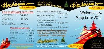 Flyer Weihnacht 2011 - Fleischerei und Partyservice Matthias ...