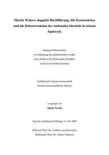Martin Walsers doppelte Buchführung. Die Konstruktion und die ...