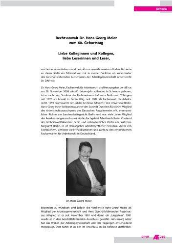 249 Rechtsanwalt Dr. Hans Georg Meier Zum 60. Geburtstag Liebe .