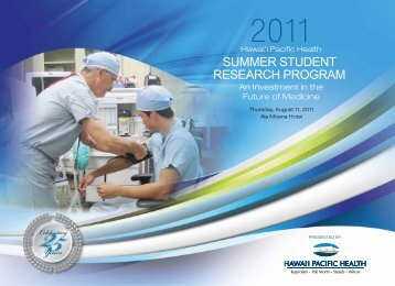 Summer Student reSearch Program - Hawaii Pacific Health