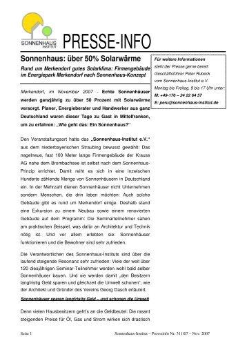 PRESSE-INFO - Sonnenhaus-Institut