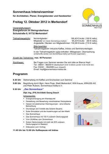 Programm und Anmeldung - Sonnenhaus-Institut