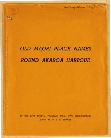 Old Maori place names round Akaroa harbour [3 - Christchurch City ...
