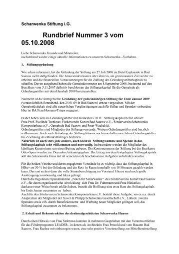 Rundbrief Nummer 3 vom 05.10.2008 - Scharwenka Stiftung