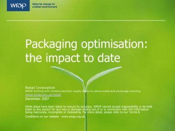 Packaging optimisation: the impact to date - UPC