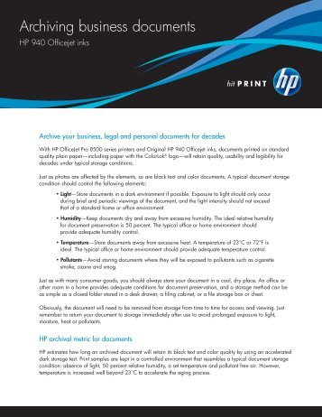 Archiving business documents: HP 940 Officejet inks