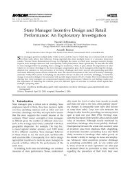 Store Manager Incentive Design and Retail Performance: An ...