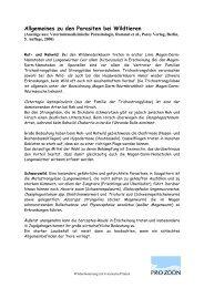 Allgemeines zu den Parasiten bei Wildtieren - PRO ZOON ...