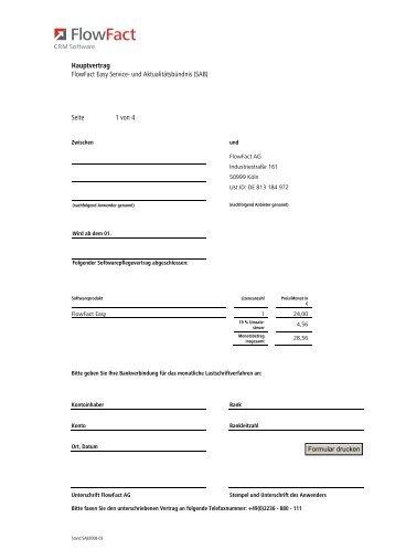 Hauptvertrag FlowFact Easy Service- und ... - FlowFact AG