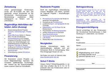 Neue Beitrittserklärung - Förderverein Grundschule Dornholzhausen