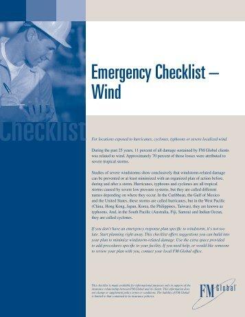 Emergency Checklist -- Wind - FM Global
