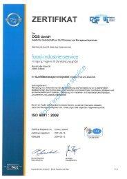 zertifikat - food-industrie-service reinigung, hygiene & dienstleistung ...