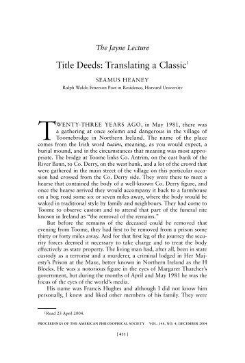 TiTLE DEEDS: TRANSLATiNG A CLASSiC - American ...