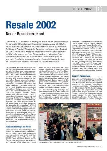 Resale 2002 Neuer Besucherrekord