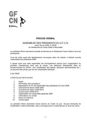 PROCES VERBAL ASSEMBLEE DES PRESIDENTS DU G.F.C.N.