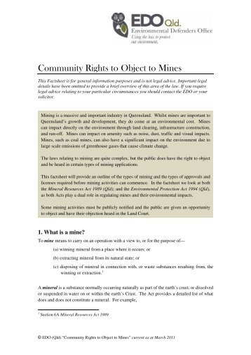 Community Rights to Object to Mines - Environmental Defenders Office