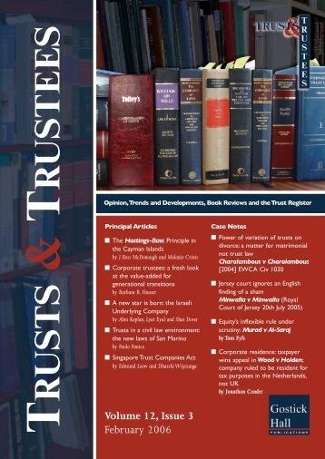 Volume 12 Issue 3 - Trusts & Trustees