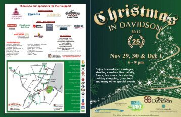 Thanks to our sponsors for their support - Christmas In Davidson