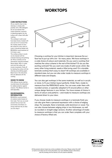 Read More About Our Custom Made Worktops Pdf Ikea