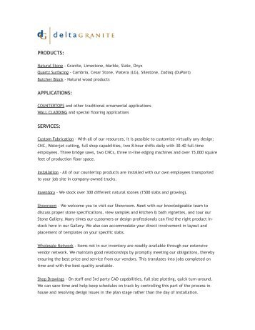 Download PDF - Delta Granite and Marble, Inc
