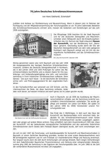 (2006): 70 Jahre Deutsches Schreibmaschinenmuseum - Forschungs