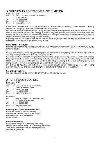 A NGUYEN TRADING COMPANY LIMITED ATA VIETNAM CO., LTD