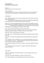 Curriculum Vitae Privatdozent Dr. Stephan Steiner Profession ...