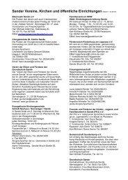 Sander Vereine, Kirchen und öffentliche Einrichtungen (Stand 1.12 ...