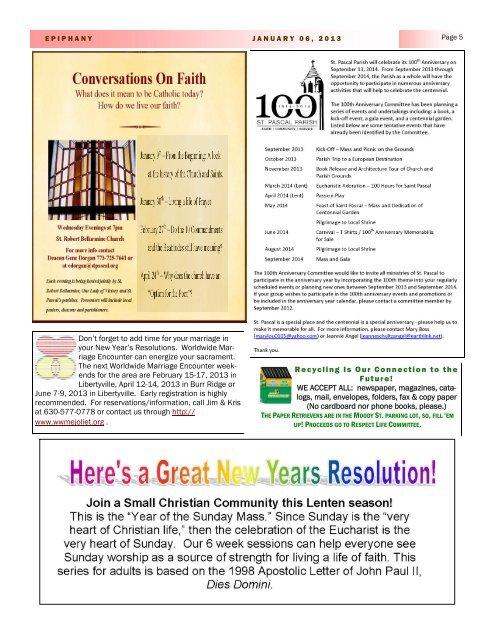 January 6, 2013 - Saint Pascal's Church and School