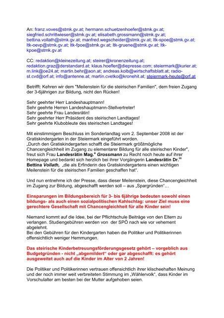 Informationsdienstaussendungenmusterbrief Gegen Die